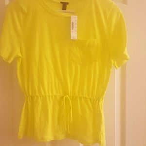 J Crew Bright Yellow Tie Drawstring Tshirt Small